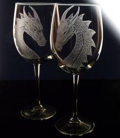dragon wine glass | Dragon wine glass gift set set of 4 by GlassGoddessNgraving
