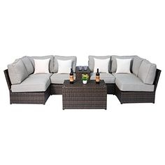 Lucca Cup Holder Table Sectional Set by Living Source International, Brown, Size Sets, Patio Furniture (Aluminum) Pool Furniture, Best Outdoor Furniture, Furniture Ideas, Outdoor Rocking Chairs, Outdoor Seating, Sofa Set, Lucca, Outdoor Living, Living Spaces