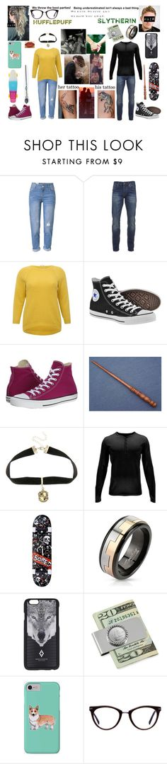 """""""hufflepuff and slytherin couple"""" by akaiyoake ❤ liked on Polyvore featuring WithChic, Scotch & Soda, M&Co, Converse, Warner Bros., Spyder, West Coast Jewelry, Marcelo Burlon, American Coin Treasures and Corgi"""