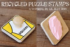 Recycle old puzzle pieces into the perfect toddler stamp (or adult stamp!) #tutorial #diy #recycled