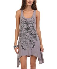 Look what I found on #zulily! Gray Abstract Sidetail Tank Dress #zulilyfinds