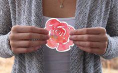Watercolor Die-Cut Rose Sticker Laptop Sticker by PineandPatchouli
