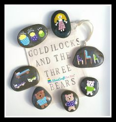 Goldilocks & The 3 Bears Story Stones by StoneCraftForYou on Etsy Pebble Painting, Pebble Art, Stone Painting, Rock Painting, Preschool Literacy, In Kindergarten, Rock Crafts, Arts And Crafts, Diy Crafts