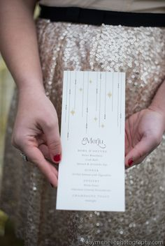 New Year's Eve Party Menu Designed by Emily Hein, photographed by Joy Michelle Photography