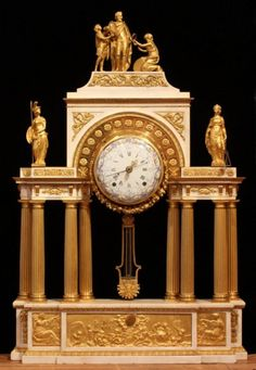 Louis XVI Bronze Dore' And Marble Mantel Portico Clock In The Form Of A Triumphal Arch Honoring The Founder Of The Bourbon Dynasty In France, Henri IV - France   c. 18th Century  (Louis XVI Period)