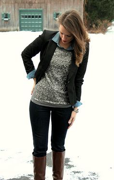 shirt+sequins top+blazer. Not your average layering combo.  It get's my attention!