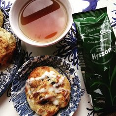 Blueberry Biscuits with Lemon Glaze and a cup Gorreana Tea
