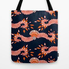 Cavallo Black Tote Bag by patterndesign - $22.00