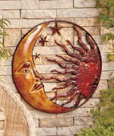 sun+and+moon+decoration   Metal Celestial Moon Sun Decor