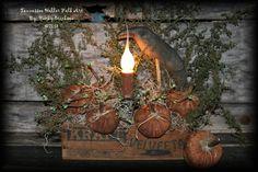 Primitive Folk Art Pumpkin Patch Cheese Box Lamp With Crow Epattern