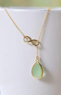 Mint Teadrop and Gold Infinity Lariat Necklace http://ift.tt/Uv1kNn