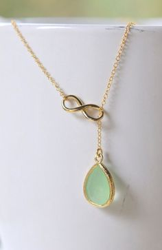 Mint Teadrop and Gold Infinity Lariat Necklace http://ift.tt/Uv1kNn