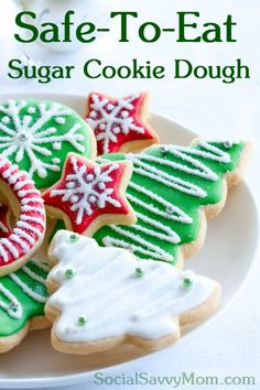 Safe To Eat Sugar Cookie Dough - The Most Delish Egg-less cookie cutter cookies! Use this recipe for all sugar cookie / shortbread recipes!
