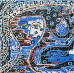 Kunstsamlingen | Artist: Barbara Kaad Ostenfeld | Title: Forblæste tankefugle | Height: 40cm,  Width: 40cm | Find it at kunstsamlingen.com #kunstsamlingen #kunst #artcollection #art #painting #maleri #galleri #gallery #onlinegallery #onlinegalleri #kunstner #artist #danishartists #bakaos