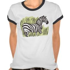 Sold! Thank you to the customer and enjoy! Zebra Ladies Ringer T-Shirt; Abigail Davidson Art; ArtisanAbigail at Zazzle