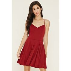 Forever 21 Women's  Crisscross Cami Mini Dress (270 MXN) ❤ liked on Polyvore featuring dresses, v neck cami, short red dress, forever 21 dresses, v neck dress and red mini dress