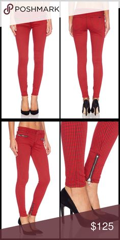 """JOE'S JEANS  Houndstooth Moto Skinny NWT So punk rock!  These babies are timeless treasures and the fit is truly on!  Wash - Rouge & Black Houndstooth 42% lyocell , 33% cotton , 15% rayon , 9% poly , 1% spandex 12"""" in the knee narrows to 8"""" at the leg opening Zippered front pockets Zippered leg opening NWT Joe's Jeans Jeans Skinny"""