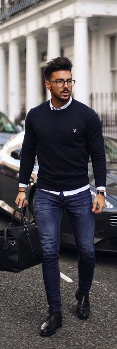 45 Cozy Men Outfit to Work in Fall Smart Casual Men, Business Casual Men, Outfit Hombre Formal, Men Fashion Show, Mens Fashion, Fashion Rings, Fall Fashion, Neue Outfits, Men's Outfits