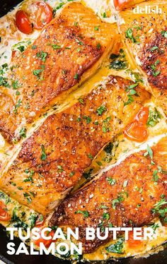 Salmon recipes 20055160827345171 - Tuscan Butter Salmon Is An Impressive Dinner That ANYONE Can MakeDelish Source by thenovicechef Seafood Recipes, Dinner Recipes, Cooking Recipes, Healthy Recipes, Italian Fish Recipes, Recipes For Fish, Easy Recipes, Cooked Shrimp Recipes, Chicken Recipes