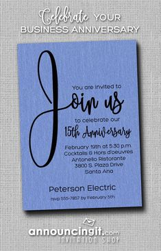 151 best business invitations images on pinterest join us shimmery blue business anniversary invitations stopboris Gallery