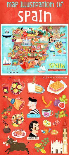 Travel and map illustration Map Of Spain, Spain Flag, Cadaques Spain, Formentera Spain, San Sebastian Spain, Hetalia, Sevilla Spain, Physics And Mathematics, Granada Spain