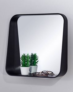 MirrorDeco — Rack Wall Mirror with Shelf - Black Square Frame Window Pane Mirror, Wall Mirror With Shelf, Living Room Mirrors, Living Rooms, Black Square, Black Mirror, Decorative Mirrors, Shelves, Frame