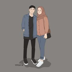 Fashion Hijab Illustration Art For 2019 - Fashion Hijab Illustration Art For 2019 The Effective Pictures We Offer You About fashion A qu - Cute Couple Cartoon, Cute Couple Art, Cute Love Cartoons, Girl Cartoon, Cartoon Art, Cute Muslim Couples, Muslim Girls, Cute Couples, Couple Illustration
