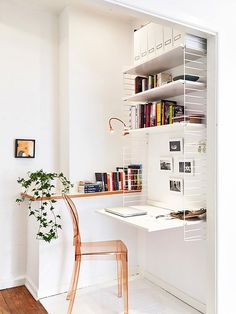 small but stylish home office. String shelf