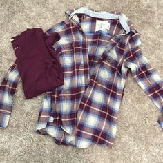 Flannel bundle Burgundy flannel (thin with button closures) size US 6 | with matching long sleeve size Medium | I typically wear a small | both H&M tops H&M Tops Tees - Long Sleeve