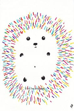 Fun Little Rainbow Hedgehog Art Print Drawing