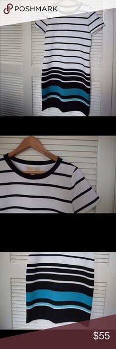 Michael Kors Stripe Ottoman Knit Tshirt Dress -New Graphic stripes intensify at skirt. Slim Tshirt dress. White, Black, and Blue. Textured Ottoman Knit. Size M. Michael Kors Dresses Midi