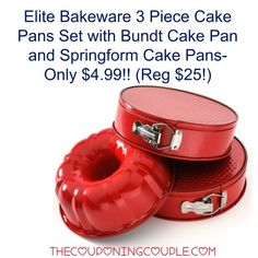 ****WOW**** Get the Elite Bakeware Cake Pans Set with a Bundt pan and 2 Springfrom pans for only $4.99!! What an awesome buy!  Click the link below to get all of the details ► http://www.thecouponingcouple.com/elite-bakeware-3-piece-cake-pans-set-bundt-springform-pans-4-99/  #Coupons #Couponing #CouponCommunity  Visit us at http://www.thecouponingcouple.com for more great posts!