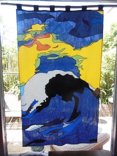 Curtainart Based on Emil Nolde. Size 56 * 89 cm. Free work and made to order. More info: info@gordijnkunst.nl
