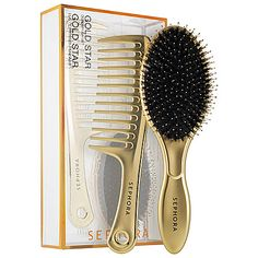 A set including a full-size oval cushion paddle brush and a comb for detangling and managing texture. With 100 percent-natural boar bristles reinforced with nylon pins, the oval-shaped brush is ideal for all hair lengths and types. Boar bristles evenly distribute the scalp's natural oils to promote shiny, healthy hair. This universal brush smooths and detangles all hair types and textures, and is great for creating intricate updos, touch-ups, and finishing touches.