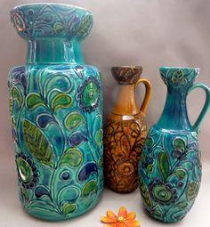 Un étage baie vase RFA poterie 60 s moderniste milieu siècle Fat Lava
