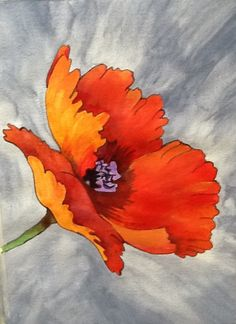 """Poppy Art -""""You Make Me Happy When Skies Are Grey"""" - Acrylic Painting by Lorraine Skala -  Follow me on FB at Sunflower Studio - Frameable prints & notecards available"""