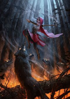 Red leaped over her pack surrounded by flame and drove her axe into a nearby tree, splitting it in two with a single swing. The wolves ran through the safe opening, relieved that their alpha female didn't leave them.