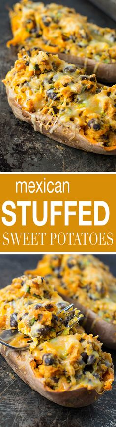 Vegetarian mexican stuffed sweet potatoes recipe from @buildyourbite An easy, healthy, and delicious dinner that your family will love!