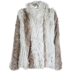 Mixed Faux Fur Coat ($130) ❤ liked on Polyvore featuring outerwear, coats, jackets, fur, tops, women, white faux fur coat, white coat, grey coat and white fake fur coat