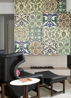 com azulejos Patchwork Tiles, O Gas, Dining Room Inspiration, Mosaic Tiles, Cement Tiles, Textile Patterns, Tile Floor, Sweet Home, Flooring