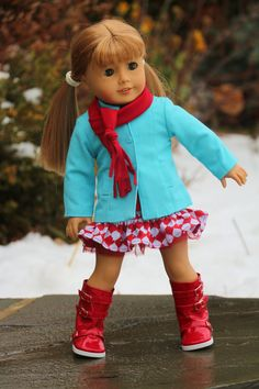 """American Girl Doll Clothes, """"Tis the Season"""".  Blue Jacket, Red Patterned skirt, Red T-shirt, Red Scarf, and Red Bead Bracelet"""