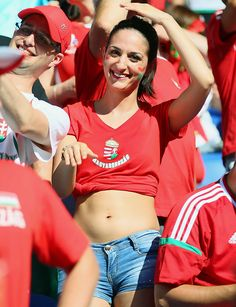 Fans enjoy the atmosphere prior to the UEFA EURO 2016 Group F match between Hungary and Portugal at Stade de Lyon in Lyon France on June 22 2016 Hot Football Fans, Football Girls, World Football, Soccer Fans, Soccer World, Premier League Tickets, Hot Fan, Justin Bieber Pictures, Tennis Players Female