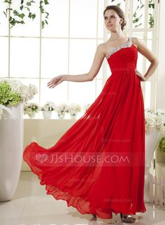 Holiday Dresses - $126.99 - A-Line/Princess One-Shoulder Floor-Length Chiffon Holiday Dress With Ruffle Beading (020025964) http://jjshouse.com/A-Line-Princess-One-Shoulder-Floor-Length-Chiffon-Holiday-Dress-With-Ruffle-Beading-020025964-g25964