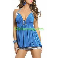Sex y Blue Party Club Wear Toy Deep V Backless Dress