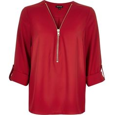 River Island Red zip neck blouse (300 RON) ❤ liked on Polyvore featuring tops, blouses, v-neck tops, zipper blouse, river island, zipper top and v neck blouse