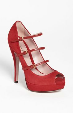 Gucci 'Lisbeth' Pump available at #Nordstrom  Hot Red Shoes …  of course they are Gucci ..  passion for red hot fashion  …  killer heels