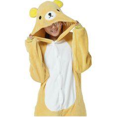 KIGURUMI Cosplay Romper Charactor animal Hooded Kigurumi Pajamas Pyjamas Costume Korilakkuma  Adult  outfit Sleepwear-Rilakkuma Bear