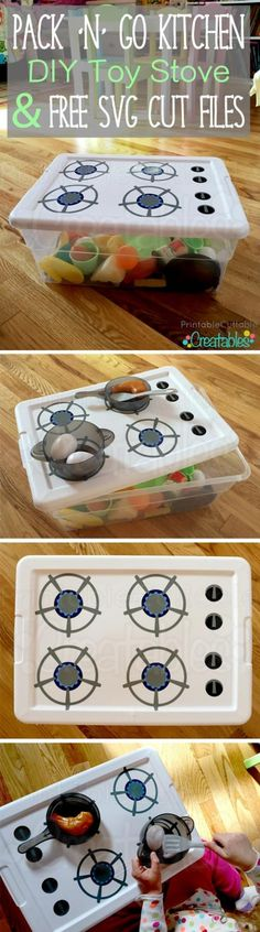 'N' Go Kitchen DIY Toy Stove Tutorial + Free SVG Cut Files DIY Toy Stove. This is brilliant! A little portable toy kitchen you can make yourself. This is brilliant! A little portable toy kitchen you can make yourself. Kids Crafts, Projects For Kids, Diy For Kids, Cool Kids, Diy Projects, Diy Toys For Toddlers, Toddler Crafts, Diy Toys For Babies, Infant Activities