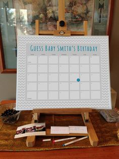Chevron Baby Shower Due Date Calendar for Boy or Girl—great party activity or game!