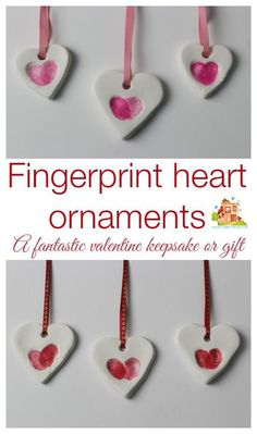adorably simple fingerprint heart ornaments made using baking soda clay. They are really easy and inexpensive to make and make great keepsakes or gifts. We are using our as part of our valentines cards. How to make your own fingerprint heart ornaments bak Valentines Bricolage, Kinder Valentines, Valentine Crafts For Kids, Valentines Diy, Holiday Crafts, Preschool Mothers Day Gifts, Spring Crafts, Kids Crafts, Toddler Crafts